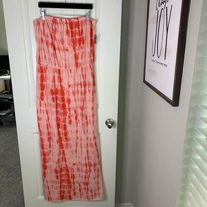 Tie dye strapless maxi cruise summer dress NWT XL
